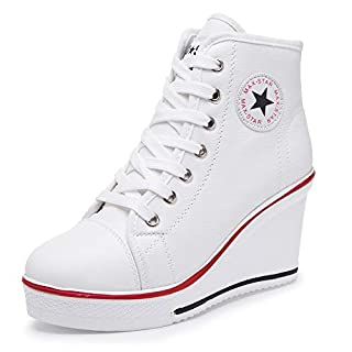 Hurriman Women's Wedge Sneakers High Heel Canvas Shoes Lace up High Top Side Zipper Fashion Sneakers (5.5 B(M) US/Label 36, White)