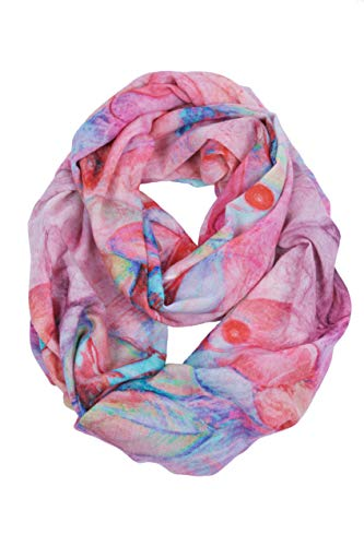Lightweight 100% 80s Fine Wool Scarf For Women, Winter Floral Scarves Shawls & Wraps (Red Abstract)