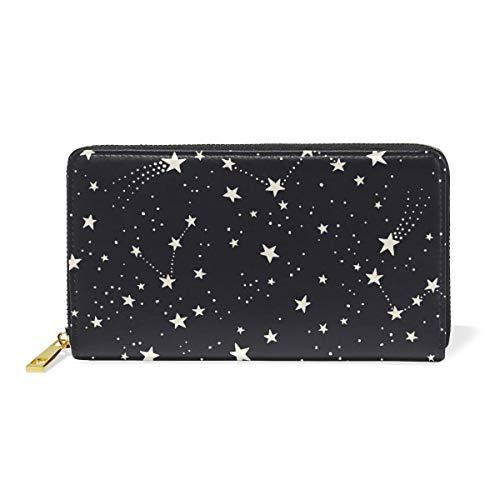 Wallet Pentagram (Pentagram Star Space Purse Genuine Clutch Wallets Zip Long Leather Handbags Womens)
