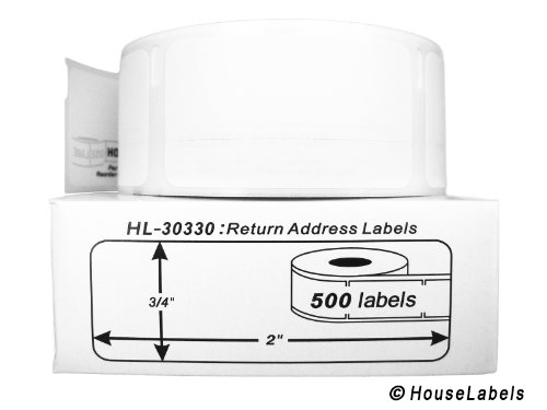 50 Rolls; 500 Labels per Roll of HouseLabels DYMO-Compatible 30330 Multipurpose Labels (3/4