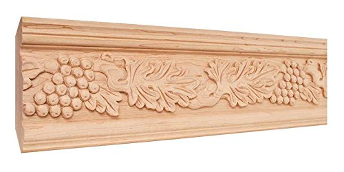 Hand Carved Acanthus and Grape Crown Moulding - 8 ft. Length (Maple) (Maple Moulding Crown)