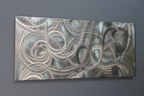 Modern Contemporary All Natural Silver Metal Wall Accent - Abstract Home Office Decor Sculpture Art - Delight by Jon Allen