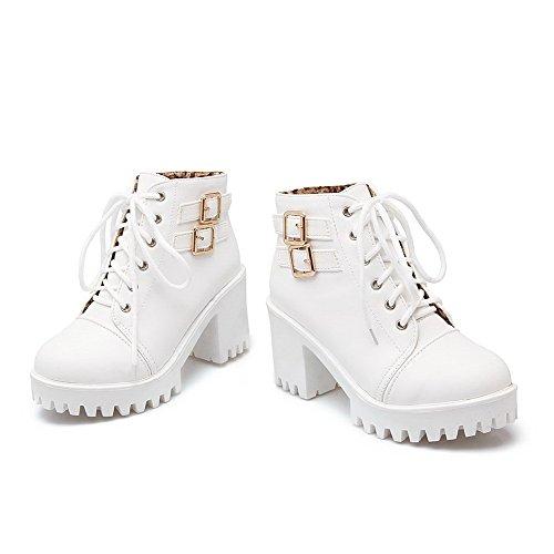 Botas Blanco Sólido Tacón AllhqFashion Alto Tobillo Cordones Suave Mujeres Material p8wfqpg