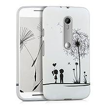 kwmobile TPU SILICONE CASE for Motorola Moto G (3. Generation) Design dandelion love black white - Stylish designer case made of premium soft TPU