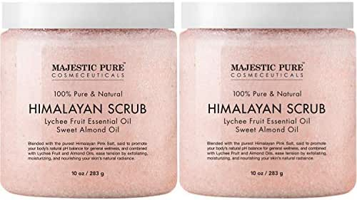 Majestic Pure Himalayan Salt Body Scrub with Lychee Essential Oil, All Natural Scrub to Exfoliate & Moisturize Skin, 20 Ounce (Pack of 2)