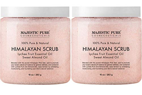 Majestic Pure Himalayan Salt Body Scrub with Lychee Essential Oil, All Natural Scrub to Exfoliate & Moisturize Skin, 10 Ounce (Pack of - Almond Body Kit