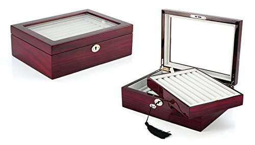 Cufflink Collectors Box - Deluxe Jewelry Cufflinks Collector's Storage Presentation Box Case Mahogany Double-Decker Gift