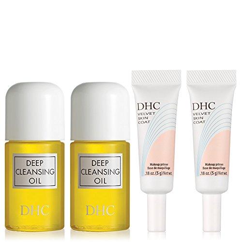 DHC Travel Favorites 4 Pack, includes 2 Deep Cleansing Oil Mini 1 fl. oz. and 2 Velvet Skin Coat Mini .18 oz.