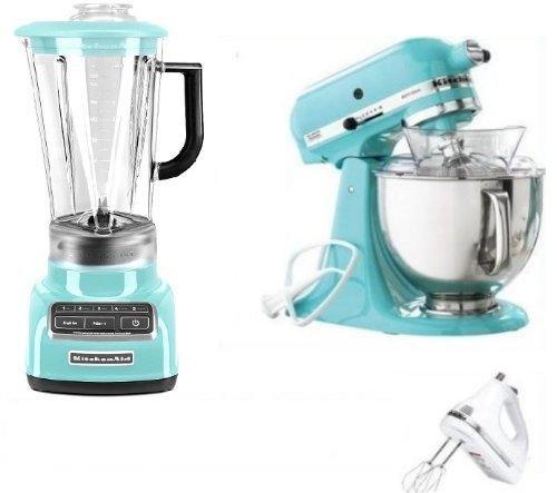 KitchenAid Artisan Tilt Stand Mixer, Blender and hand mixer Blue Collection 5 Qt. KSM150PSAQ Aqua Sky