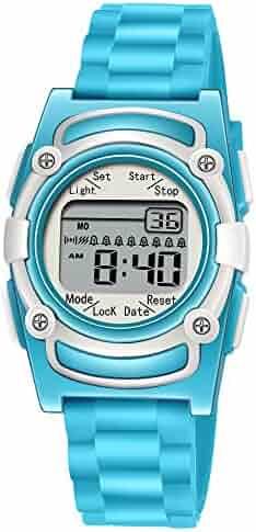 Kids Digital 8 Alarm Vibrating Watch Medication Reminder Potty Urinary Training Vibration Pill Alert Vibra Medical Reminder for Children (Water Blue)