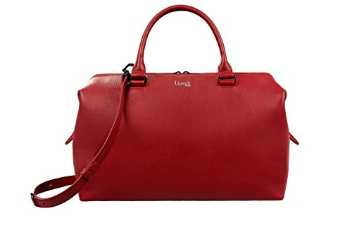 (Lipault - Plume Elegance Bowling Bag - Medium Top Handle Shoulder Boston Handbag for Women - Ruby)