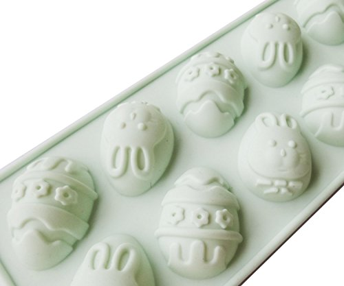 (Lauren 10 Cavity Easter Egg Silicone Bakeware Dessert Chocolate Fudge Mold Ice Tray Party Decorate Supply)