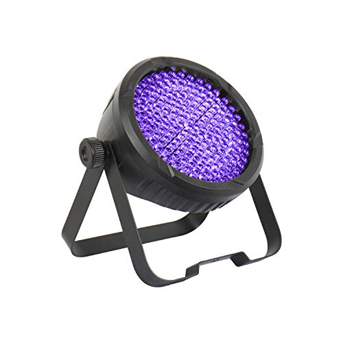 DragonX UV Light LED Halloween Black light– LED 64 Par Can Wash Light 177 (10mm) - Spooky UV Halloween Lights, Flash Strobe Ultraviolet Blacklight, Uplighting, Event Lights, DJ Stage Lights, DMX 512 - Black Professional Dj Lighting
