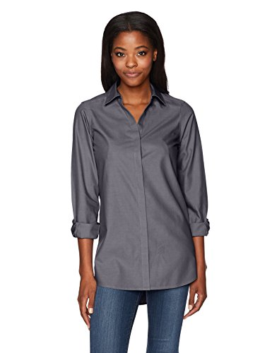 Foxcroft Women's Plus Size Vera Solid Non Iron Tunic, Charcoal, 22W