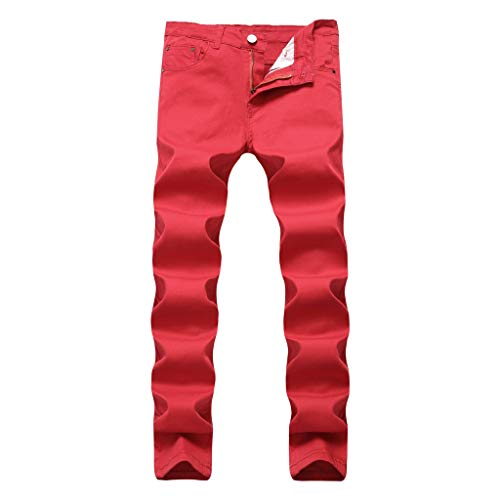 (NUWFOR Men's Fashion Slim Fit Personality Stretchy Casual Solid Jeans Denim Pants(Red,US:29 Waist:29.53