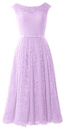 MACloth Caps Sleeve Lace Cocktail Dress Tea Length Wedding Party Formal Gown Lavanda
