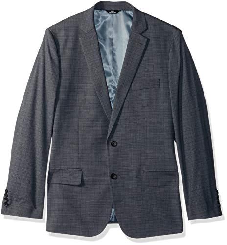 Haggar Men's Subtle Plaid Stretch Slim Fit Suit Separate Coat, Medium Grey, 40L - Mens Suit Separate Coat