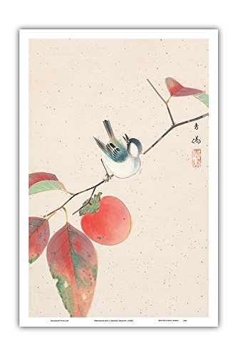 (Persimmon and a Japanese Sparrow - Japanese Woodblock Print by Seiyosai Shunshi c.1900's - Master Art Print - 12in x 18in)