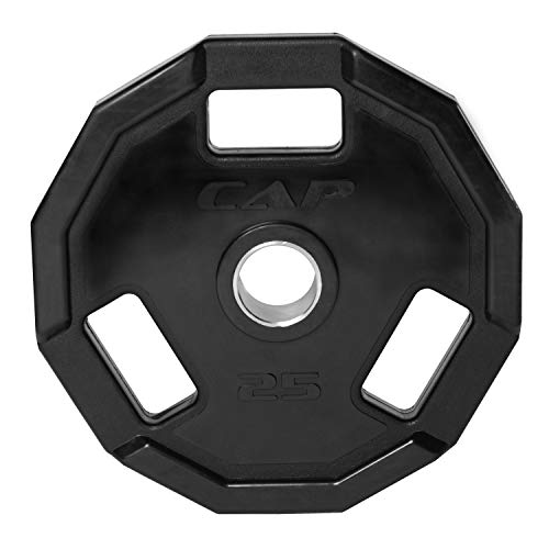 CAP Barbell Olympic 2-Inch 3-Grip Rubber Plate, Single