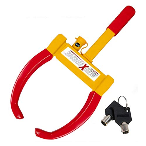 AllExtreme CQ6994B Heavy Duty Anti Theft Wheel Lock Clamp Anti-Theft Towing Parking Boot Tire Claw Adjustable for Auto Car Truck with Two Keys