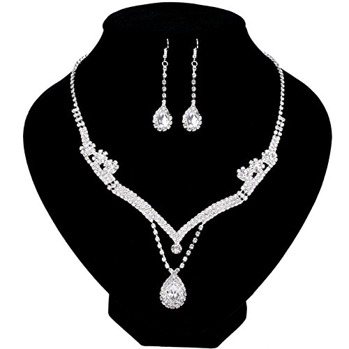 Paxuan Womens Silver Rhinestone Crystal Wedding Bridal Jewelry Sets Necklace Earrings Jewelry Set for Wedding Brides Party (White)