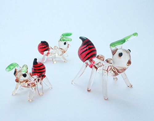 Ant Family Set Handcrafted MINIATURE HAND BLOWN GLASS FIGURINE - Barney Glasses With