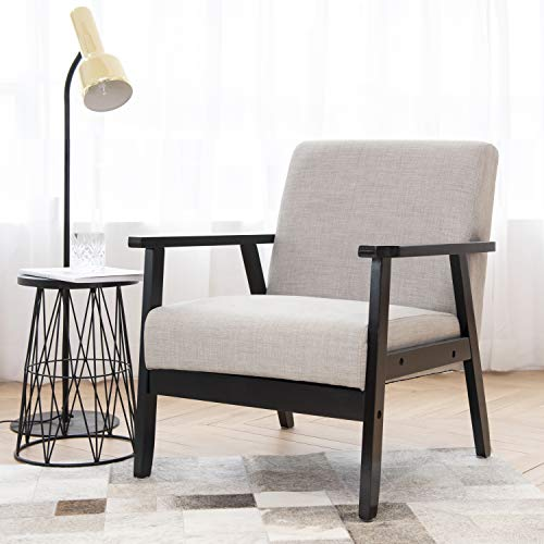 Art Leon Mid Century Modern Fabric Upholstered Accent Chair with Solid Wood Frame Low Lounge Armchair for Home Office Living Room Bedroom Waiting Room Reception Apartment Dorms, Grey