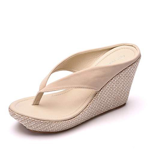 Flip Flops Heels - Crystal Queen Women Beach Sandals Platform Wedges Sandals High Heels Wedges Slippers Flip Flops White Flip Flops Plus Size (39 M EU / 8 B(M) US, Beige)