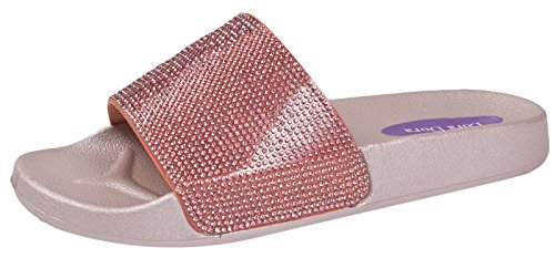 Lora Dora Womens Diamante Faux Fur Sliders Pink/Pink Glitter