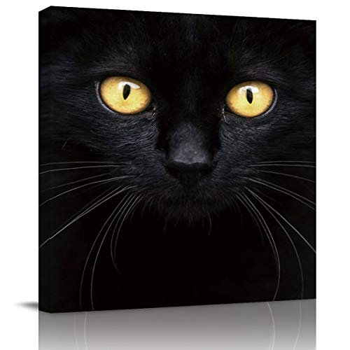 Square Canvas Wall Art Oil Painting for Bedroom Living Room Home Collection,Black 3D Cat Face with Yellow Eyes Pattern Artworks for Wall Decor,Stretched by Wooden Frame,Ready to Hang,12 x 12 Inch]()