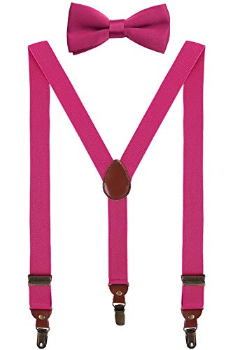 BODY STRENTH Big Boys' Pretied Tie and Suspenders Set Strong Hold 40 inches, Hot Pink