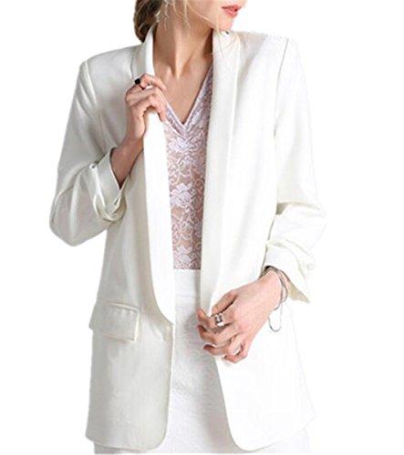 JIANGTAOLANG Fashion Autumn Women Blazers Jackets Work Office Lady Slim White Black None Button Business Blazer