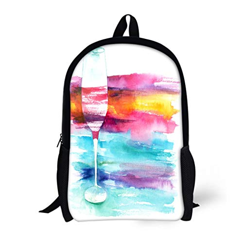 Pinbeam Backpack Travel Daypack Watercolor Drawing of Glass Red Wine Vibrant Copyspace Waterproof School Bag ()