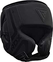RDX Pro Headgear Boxing Sparring Grappling, Maya Hide Leather, Head Guard MMA Muay Thai Kickboxing Protection