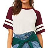 Womens Tops Short Sleeve Spliced Stripe Loose T-Shirt O-Neck Casual Soft Blouse (XL, Red)