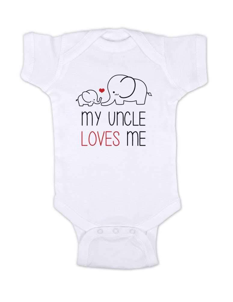 Hello Handmade My Uncle Loves Me - Cute Elephants Bodysuit (12 Months, White)