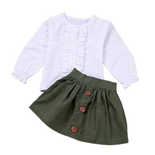 Birdfly Little Girls Two Piece Clothes Set Good Kids Fall Oufits Ruffles Clean White Shirt Buttons A-line Skirt (4T, Army Green)