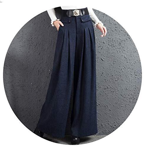 Winter Wool Pants High Waist Long Trousers Thicken Full Length Wide Leg Pants,Blue,S ()