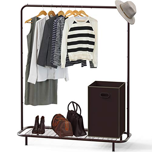 Simple Houseware Industrial Pipe Clothing Garment Rack with Bottom Shelves, ()