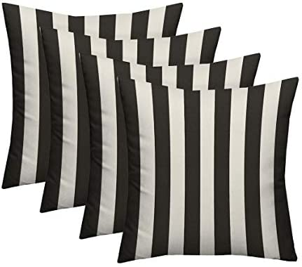 RSH D cor Set of 4 – Indoor Outdoor Black White Cabana Stripe Decorative Square Throw Toss Pillow – Choose Size and Choose Color