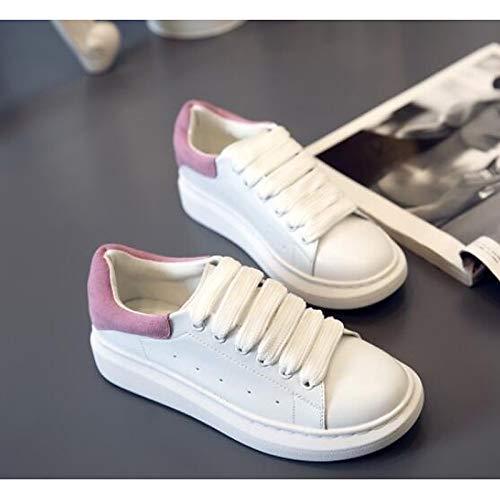 ZHZNVX Zapatos de Mujer Nappa Leather Spring/Summer Comfort Sneakers Flat Heel Cerrado con Punta Negra/Rosa Pink