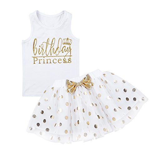 dPois Infant Toddlers Baby Girls 1st/2nd Birthday Party Cartoon 3 Pieces Outfit Romper Polka Dot Tutu Skirt with Headband Set White (Tank Top) 12-24 Months ()