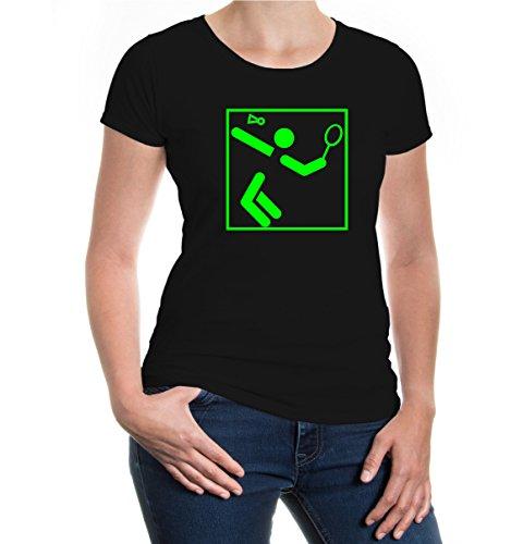 Girlie T-Shirt Badminton-Pictogram Black