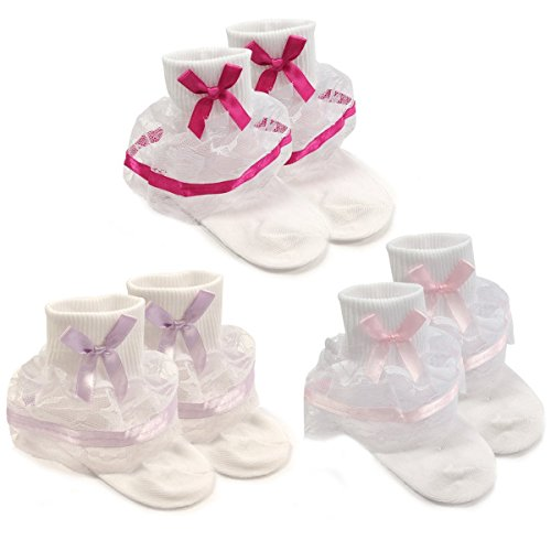 Wrapables Lil Miss Bella Lace & Ribbon Ruffle Socks for Toddler Girl, (Hot Pink Ruffle)