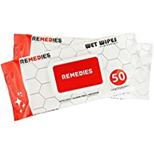 REMEDIES Disposable Adult Wipes Body Washcloth, Deodorizing Hygiene Cleansing Adult Wet Wipes, 12 Packs of 50