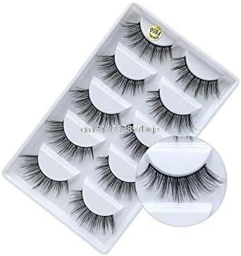 5 Pairs Lashes Mink Eyelash 100% Cruelty Free Lashes Handmade Reusable Natural Eyelashes Wispy False Lashe Makeup,5 Pair F850