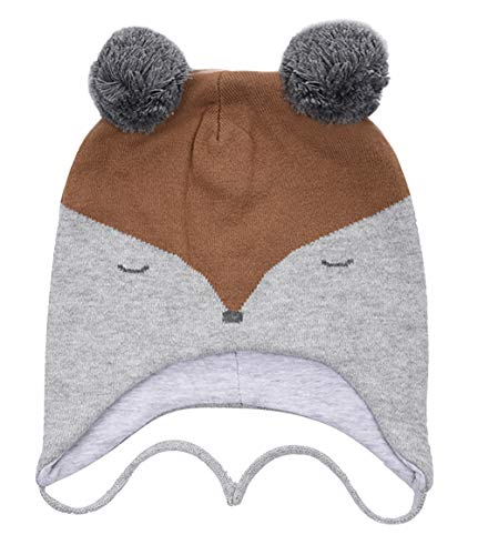 Eriso Toddler Baby Fox Hat Mittens Set Little Kids Knit Winter Caps (1-3 Years(18-19.5