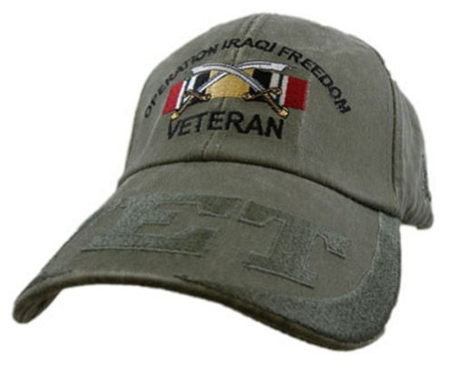 US Army Iraqi Freedom Veteran Embroidered Hat - Adjustable Buckle Closure ()