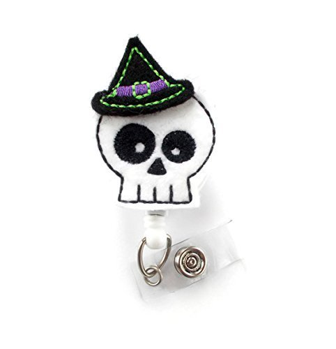 Skeleton Witch - Teacher Badge Holder - Nurses Badge Holder - Halloween Badge - Nursing Badge Holder - Teacher Badge Reel - Rn Badge Reel - Alligator Clip