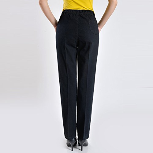 aged Mother Middle XXXXXXL Haute Ladies Jean Pantalon Pants Womens Straight Black Embroidery Elastic Femme Taille Trousers Zhhlaixing 6Uwxqd6